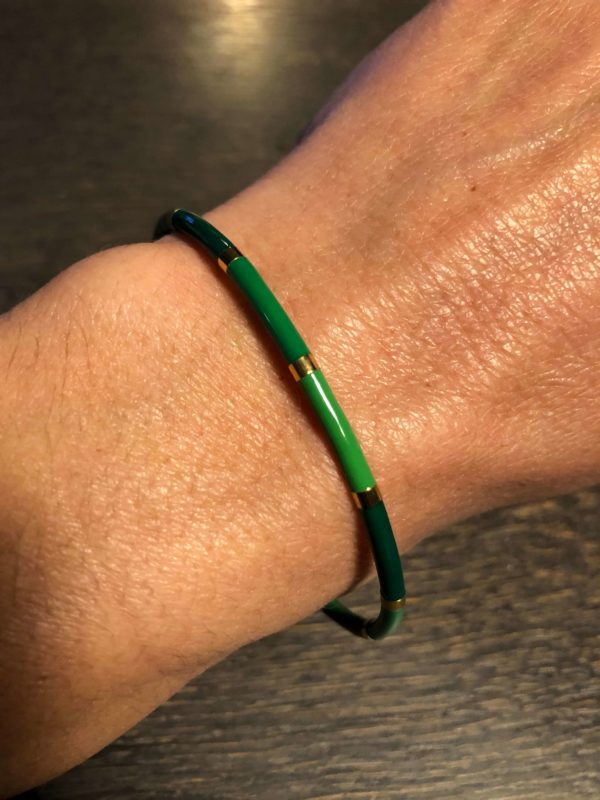Bracelet Jonc Vert et Doré